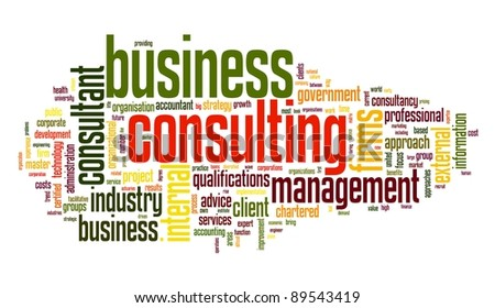Business consulting concept in word tag cloud on white background - stock photo