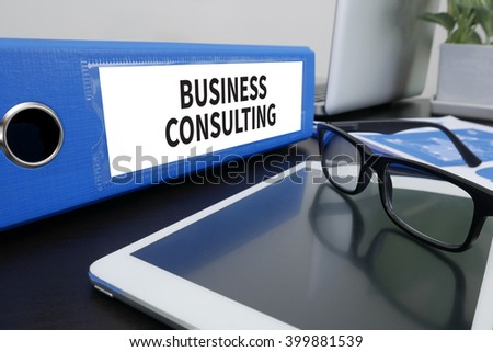 BUSINESS CONSULTING CONCEPT Office folder on Desktop on table with Office Supplies. ipad - stock photo