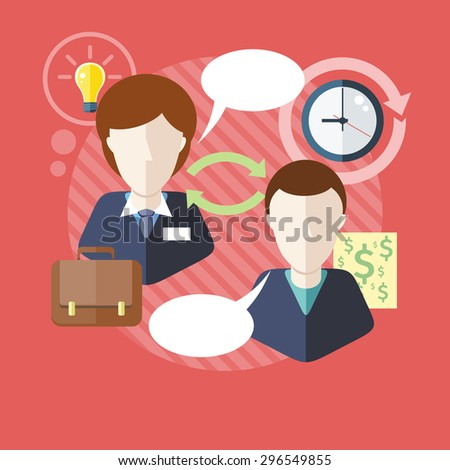 Business consulting. Concept with text.  Businessman and female consultant with speech bubbles. Icons for web design, analytics, graphic design and in flat design. Raster version - stock photo