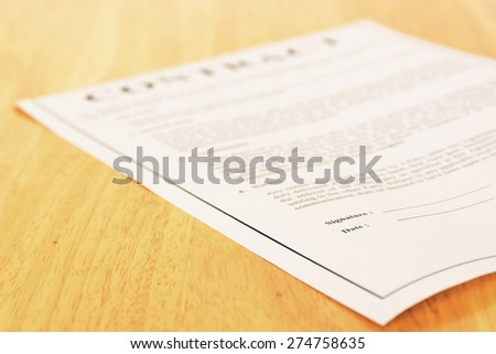 Business contract form  - stock photo