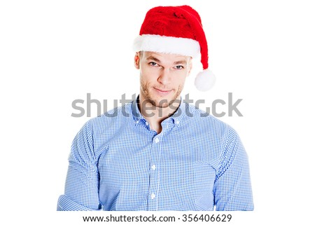Business corporate man with Christmas hat