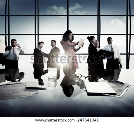 Business Corporate People Digital Communication Meeting Concept - stock photo