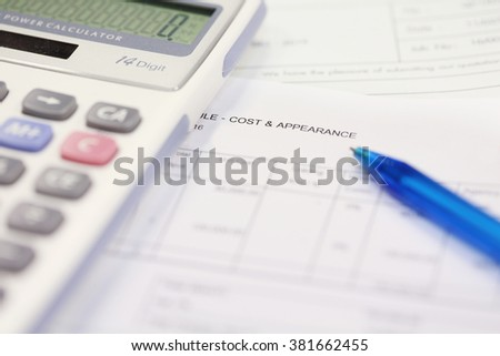 business cost and appearance documents with calculator