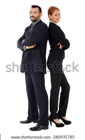 Business couple back to back isolated on white background - stock photo