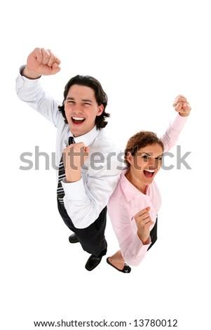 Business Couple Cheering - stock photo
