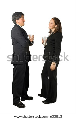 business couple having a drink together