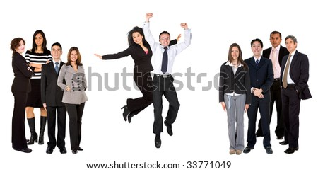 Business couple jumping within a group, isolated - stock photo