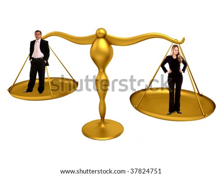 Business couple on a golden scales isolated