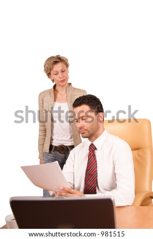 business couple reading report - isolated