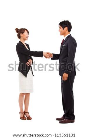 Business couple shaking isolated on white background. - stock photo