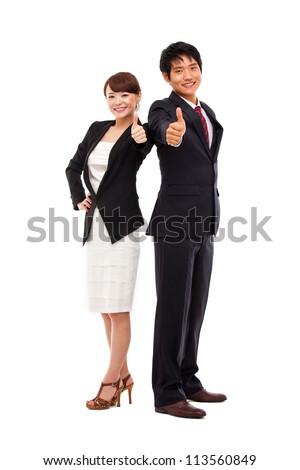 Business couple showing thumb isolated on white background. - stock photo