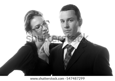 Business couple standing isolated on white background.