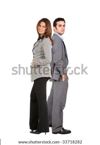 Business couple standing isolated over a white background - stock photo