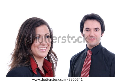 business couple together isolated on white background