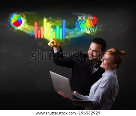 Business couple touching colorful modern graph system concept  - stock photo