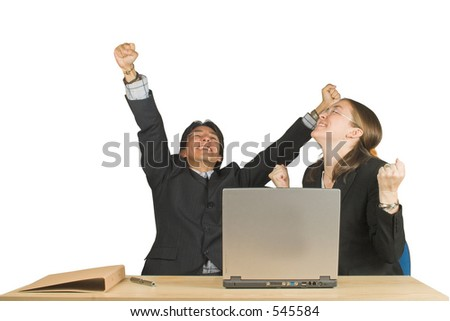 business couple with successful expressions