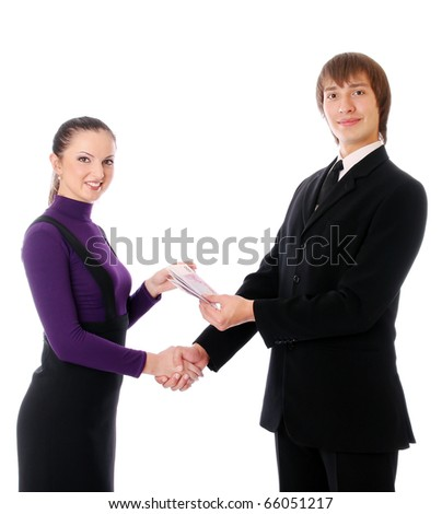 business couple with the money are happy. Isolated at white background - stock photo