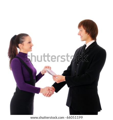 business couple with the money. Isolated at white background - stock photo