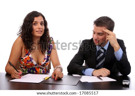 Business Couple working, isolated over white background