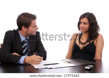 Business Couple working, isolated over white background - stock photo