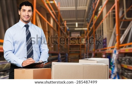Business, courier, men. - stock photo