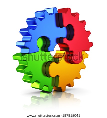 Business creativity, teamwork, partnership and success concept: metal gear from color puzzle pieces isolated on white background with reflection effect - stock photo