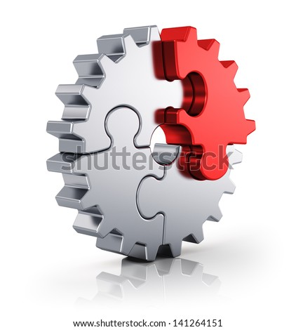 Business creativity, teamwork, partnership and success concept: metal gear from puzzle pieces isolated on white background with reflection effect