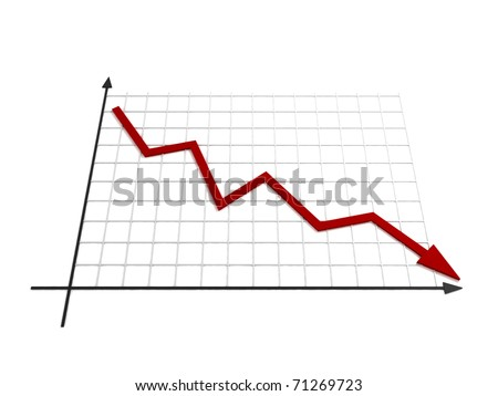 Business crisis graph - Line Chart - 3D illustration - stock photo