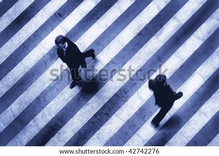 business crosswalk scene - stock photo