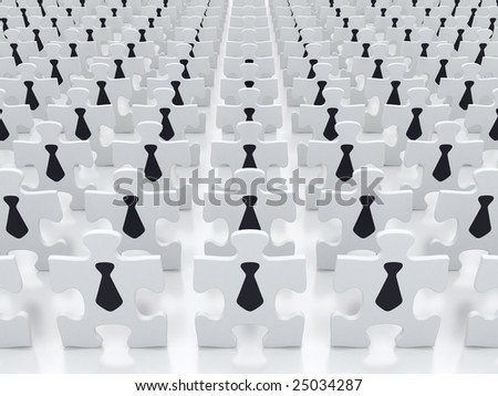 Business crowd - jigsaw puzzle concept - stock photo