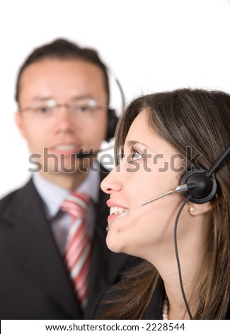 business customer service over a white background - focus is on the eye of the woman