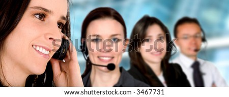 business customer service team in an office environment - stock photo