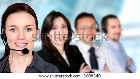 business customer service team in an office environment