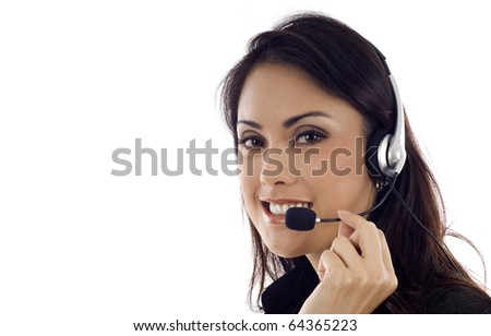 Business customer support operator, Asian woman smiling isolated over white background, a lot of copyspace - stock photo