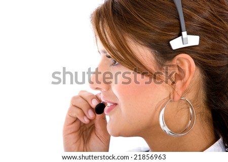 business customer support operator woman profile - isolated