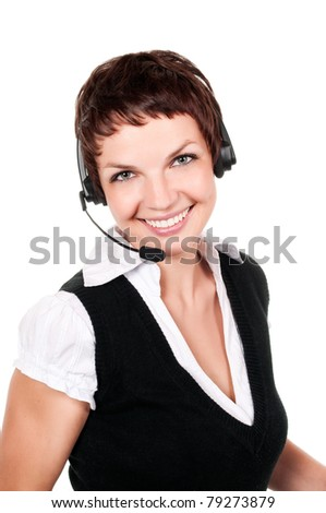 business customer support operator woman smiling - isolated - stock photo