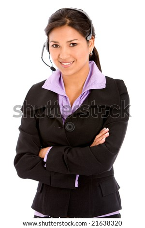 business customer support operator woman smiling - isolated on white - stock photo