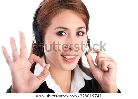 business customer support operator woman smiling on white background - stock photo