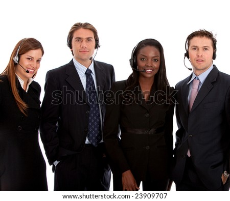 business customer support team with headsets isolated over a white background - stock photo