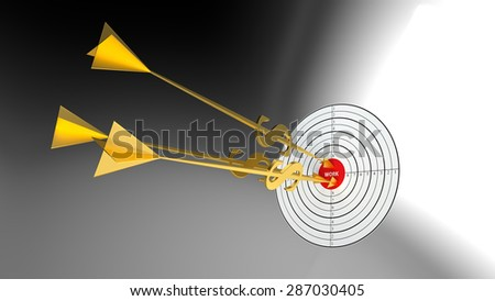 Business darts. Clouds goal. Golden arrow - dollar. - stock photo