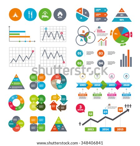 Business data pie charts graphs. Food, sleep, camping tent and fire icons. Knife and fork. Hotel or bed and breakfast. Road signs. Market report presentation.  - stock photo
