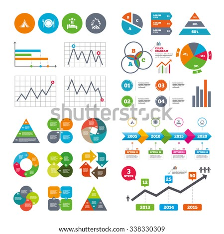 Business data pie charts graphs. Food, sleep, camping tent and fire icons. Knife, fork and dish. Hotel or bed and breakfast. Road signs. Market report presentation.  - stock photo