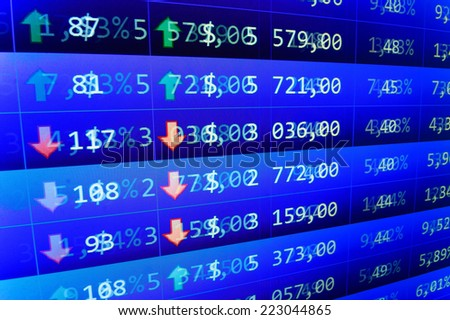 Business data shown on computer screen. Computer screen live display. Stock profit graph for diagram. Online live finance business. Stock market quotes. Blue macro real time photo Blue stock market.  - stock photo