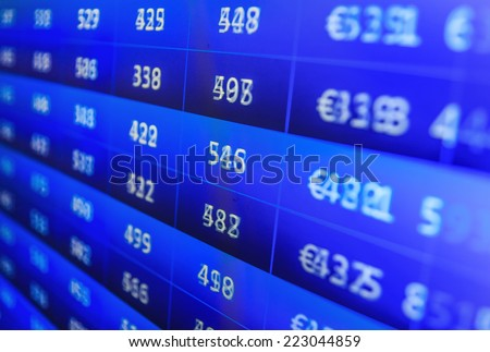 Business data shown on computer screen. Modern virtual technology. Earn profit chart and diagram. Finance trade data analysis. Computer screen. Data analyzing. Computer online stock trade.  - stock photo