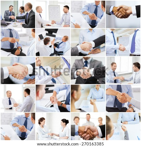 business deal and office concept - collage with many different people shaking hands in office - stock photo