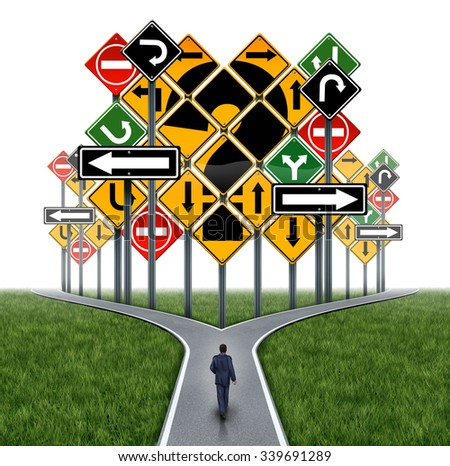 Business decision challenge concept as a businessman on a crossroad path facing an impass or dilemma with traffic signs as a question mark in a metaphor for consultation and corporate guidance. - stock photo