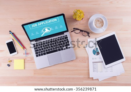 Business desk concept - JOB APPLICATION - stock photo