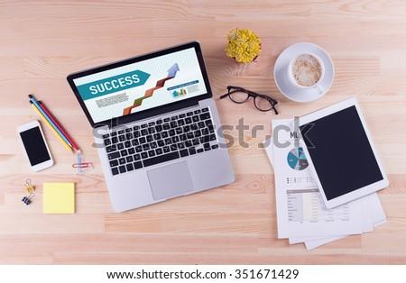 Business desk concept - SUCCESS - stock photo