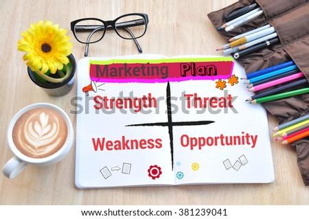Business desktop and marketing plan Concept. - stock photo