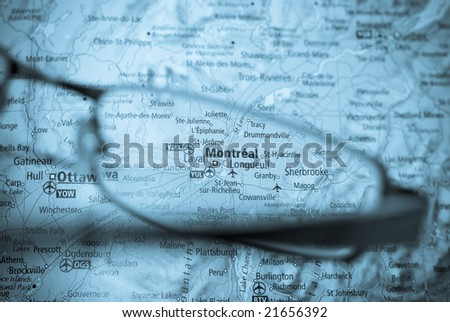 business destination selection from map of montreal - stock photo